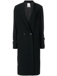 Each X Other Long Double Breasts Coat Black
