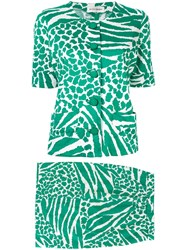 Yves Saint Laurent Vintage Zebra Pattern Set Up Suit Green