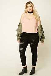 Forever 21 Plus Size Distressed Jeans Black