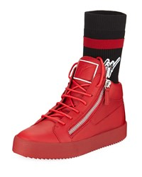 Giuseppe Zanotti Double Zip High Top Sock Sneakers Red
