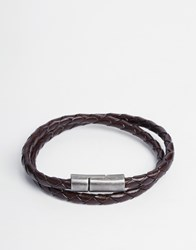 Jack And Jones Jack And Jones Leather Braided Wraparound Bracelet Brown