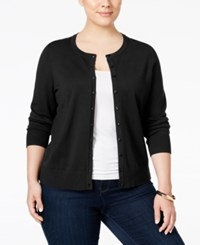 Charter Club Plus Size Long Sleeve Cardigan Only At Macy's Deep Black