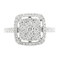 Ewa 18Ct White Gold Diamond Cluster Engagement Ring 0.60Ct