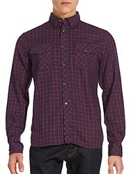 French Connection Eddie Checked Cotton Button Down Shirt Red Rock