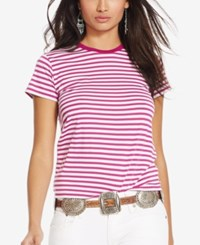 Polo Ralph Lauren Striped Crew Neck T Shirt Bright Magenta White