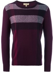 Burberry Striped Crew Neck Jumper Pink And Purple