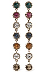Gucci Burnished Gold Tone Crystal Earrings One Size