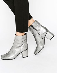 Warehouse Metallic Heeled Ankle Boot Pewter Grey