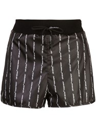 Off White Logo Print Pinstripe Track Shorts Black