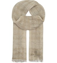 Corneliani Checked Linen Scarf Beige
