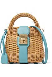 Mark Cross Manray Textured Leather Trimmed Rattan Shoulder Bag Blue