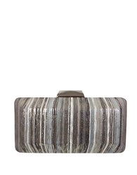 Sondra Roberts Metallic Striped Convertible Clutch Grey
