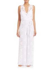 Miguelina Poppy Scalloped Lace Cotton Jumpsuit White