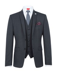 Lambretta Men's Textured Slim Fit Three Piece Suit Black