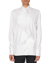 Givenchy Ruffle Front Poplin Shirt White