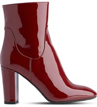 Lk Bennett Pellino Patent Leather Heeled Ankle Boots Red Truffle