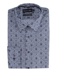 Double Two Men's Patterned Formal Shirt Grey