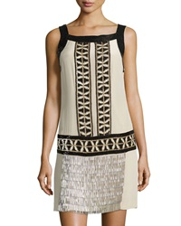Philosophy Di Alberta Ferretti Patterned Sequin And Beaded Shift Dress Beige Multi