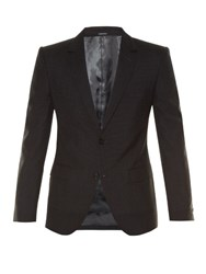 Alexander Mcqueen Micro Check Notch Lapel Blazer Charcoal
