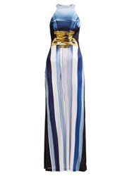 Mary Katrantzou Imaan Perfume Bottle Print Maxi Dress Blue Multi