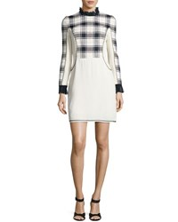 3.1 Phillip Lim Long Sleeve Surf Plaid Mini Dress Midnight Black White White Black