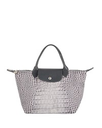 Longchamp Le Pliage Croc Small Handbag Gray