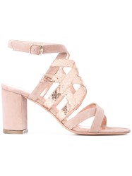 Jean Michel Cazabat Metallic Strap Sandals Women Leather Goat Suede 39 Nude Neutrals