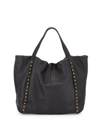 Neiman Marcus Made In Italy Slouchy Studded Leather Tote Bag Black