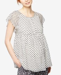 A Pea In The Pod Maternity Dot Print Flutter Sleeve Blouse Black White Print