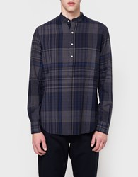 Gitman Brothers Vintage Big Madras Check Ls Banded Popover In Navy