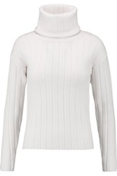 Dkny Ribbed Boiled Wool Turtleneck Sweater Ivory