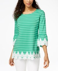 Charter Club Striped Lace Trim Top Created For Macy's Acadia Green Combo