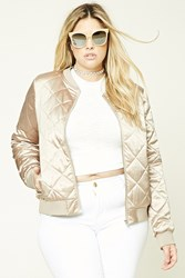 Forever 21 Plus Size Quilted Bomber Jacket Taupe