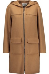 Sandro Mona Wool Blend Hooded Coat Light Brown