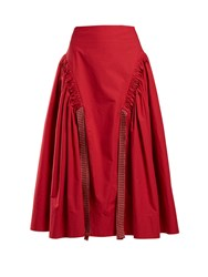 Fendi Ruched Cotton Skirt Red