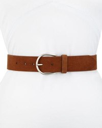 Frame U Buckle Leather Belt Beige