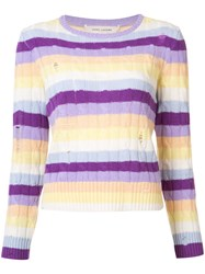 Marc Jacobs Cable Knit Stripe Sweater Pink Purple
