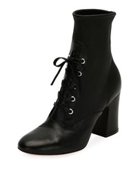 Gianvito Rossi Stretch Napa Lace Up Bootie Black
