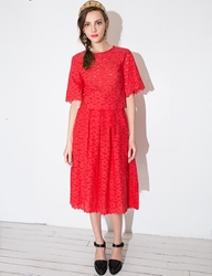 Pixie Market Red Lace Midi Skirt