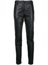 Alberta Ferretti Slim Fit Leather Trousers Black