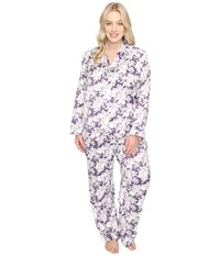 Carole Hochman Plus Size Packaged Brush Back Satin Pajama Floral Garden Women's Pajama Sets Purple