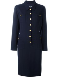 Chanel Vintage Classic Shirt Dress Blue