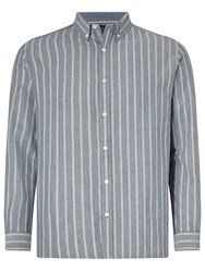 John Lewis Preppy Stripe Oxford Shirt Navy