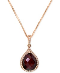 Effy Collection Gemma By Effy Garnet 4 1 5 Ct. T.W. And Diamond 1 8 Ct. T.W. Pear Pendant In 14K Rose Gold
