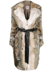 Urbancode Faux Fur Midi Coat Neutrals
