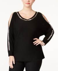 Ny Collection Plus Size Beaded Cold Shoulder Top Black