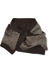 Karl Donoghue Shearling And Wool Scarf Chocolate