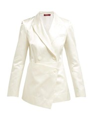 Sies Marjan Tommie Double Breasted Satin Blazer White