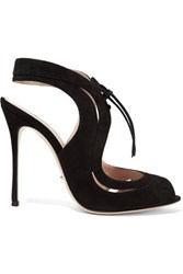 Sergio Rossi Yin Yang Cutout Suede Sandals Black