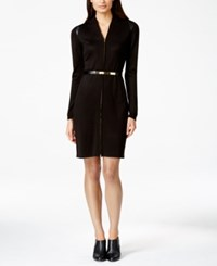 Calvin Klein Zip Front Belted Sweater Dress Black